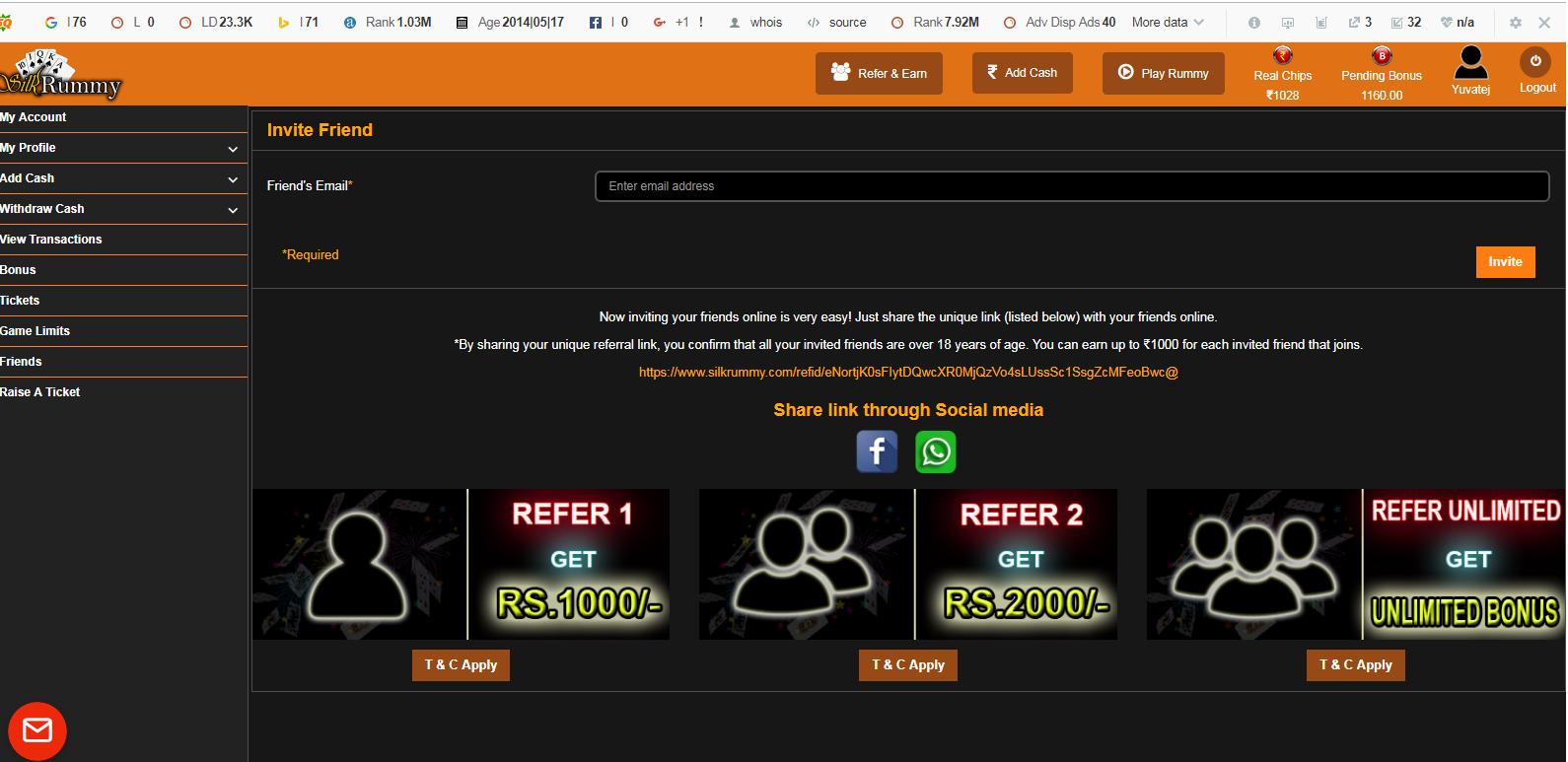 Rummy Refer-a-friend on desktop and get Rs.5000 Cash Bonus- silkrummy