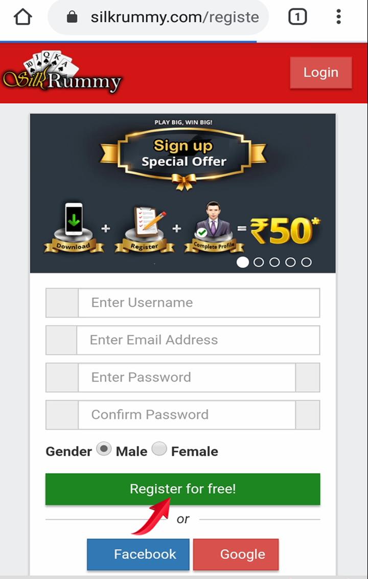Rummy instant bonus Rs.50 - click on Register for free