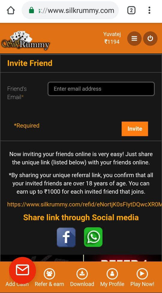 Invite your rummy friends