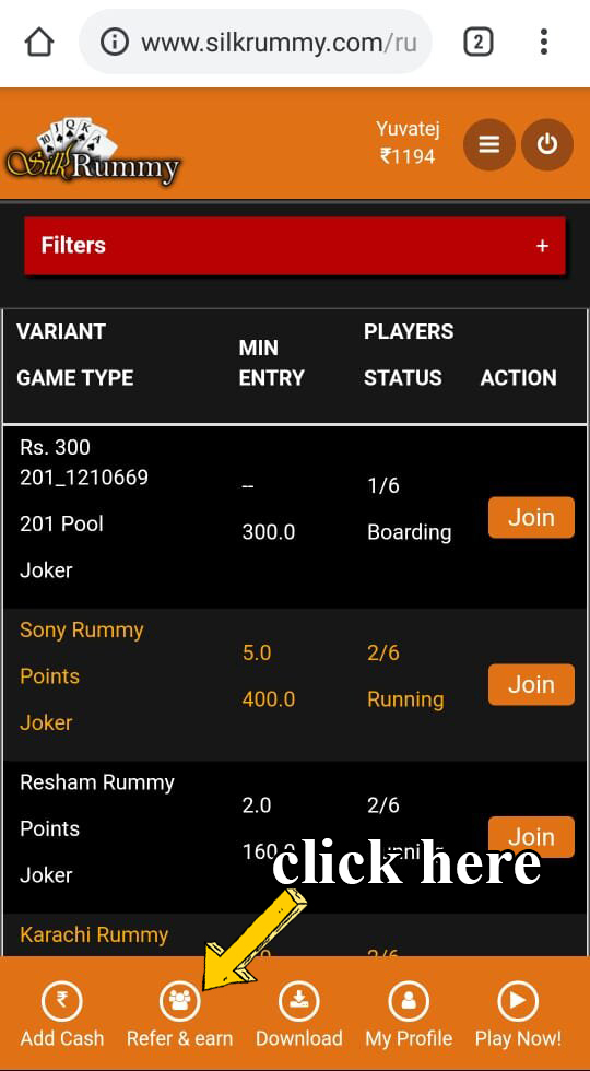 Rummy refer a friend bonus at silkrummy