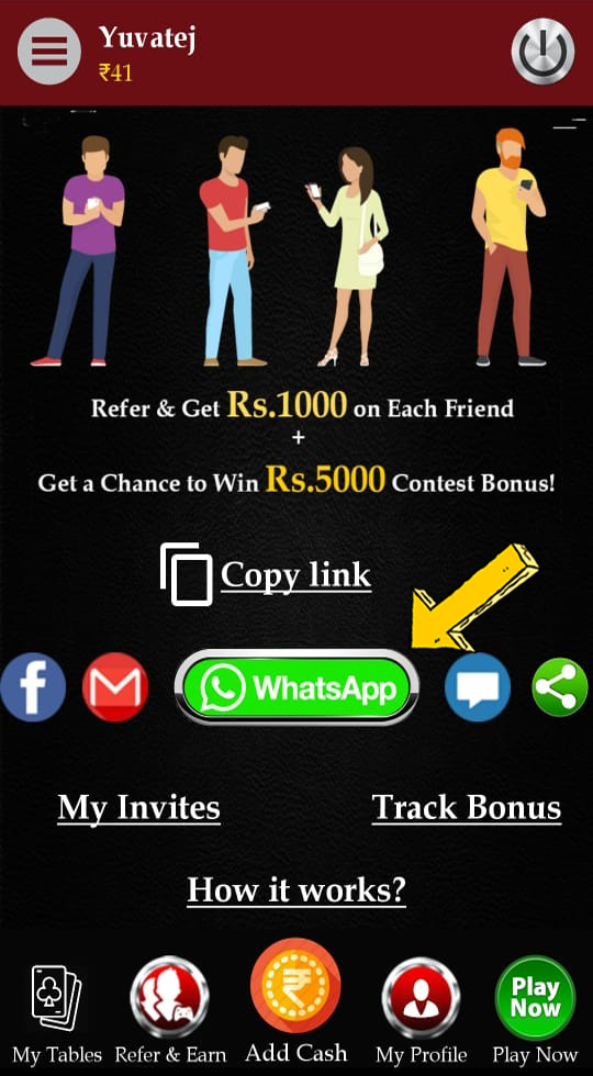 Cash Rummy Referral Bonus - Select your social media platform to share the referral link