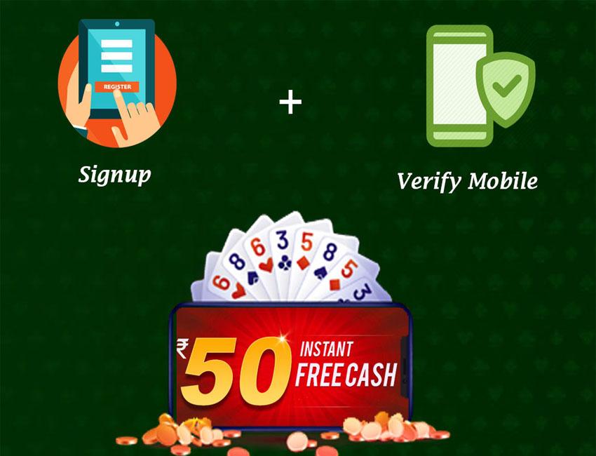 Rummy Bonus – Get Rs.50 Instant Sign up Bonus