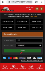"""Using Silk Rummy promo code SRFD5000, enter amount & click on """"apply"""" button"""