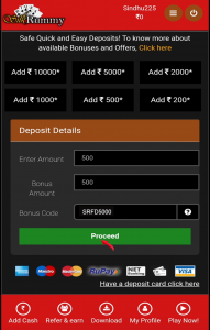"""Use promo code SRFD5000, enter amount minimum amount Rs.200 & Click on """"Proceed"""" Button"""