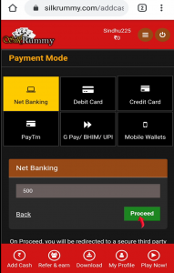 Rummy welcome bonus - Select Payment Mode & Click on 'Proceed' Button