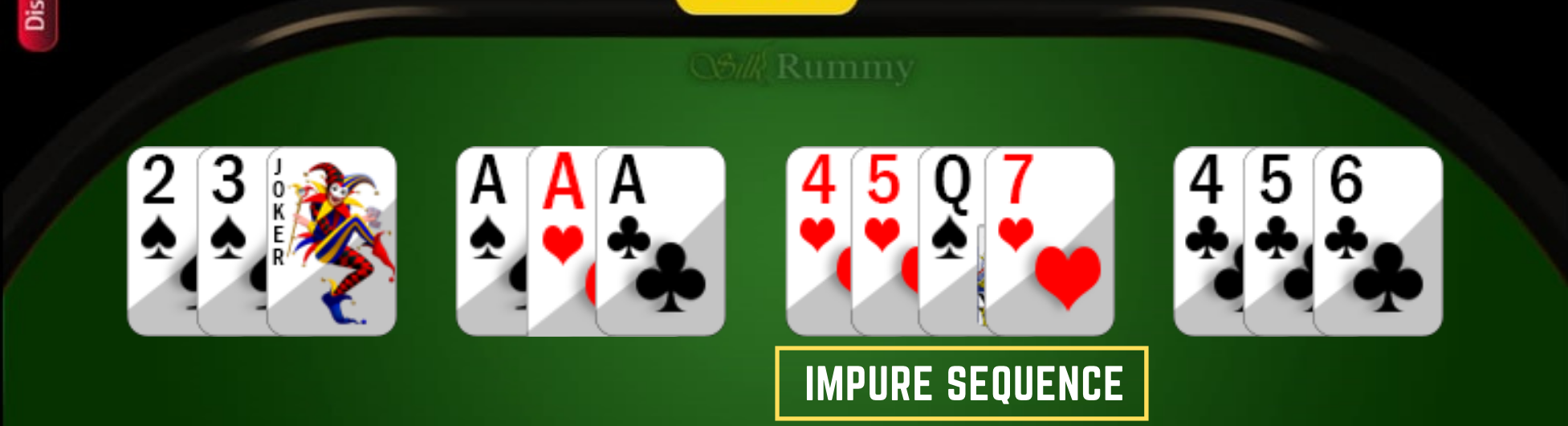 How to Play Rummy- Learn Rummy Rules- Rummy Impure Sequence with wild card joker