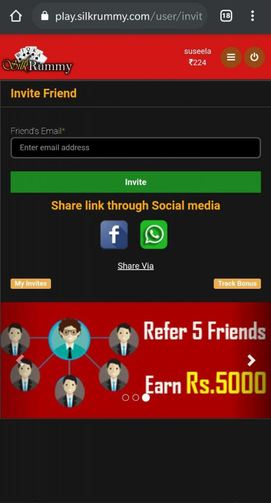Invite your circle of Rummy friends to silk rummy to join rummy cash games