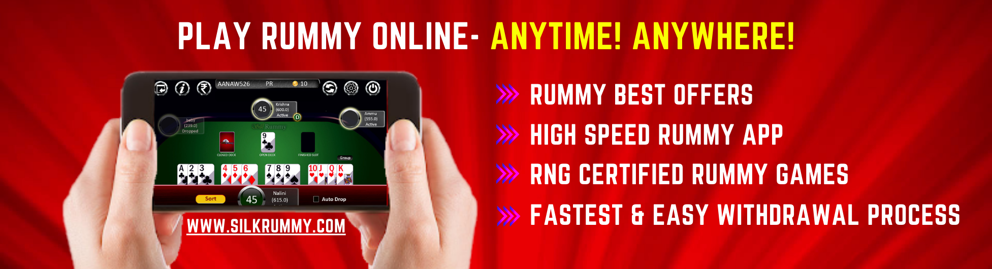 PLAY RUMMY ONLINE- ANYTIME! ANYWHERE!