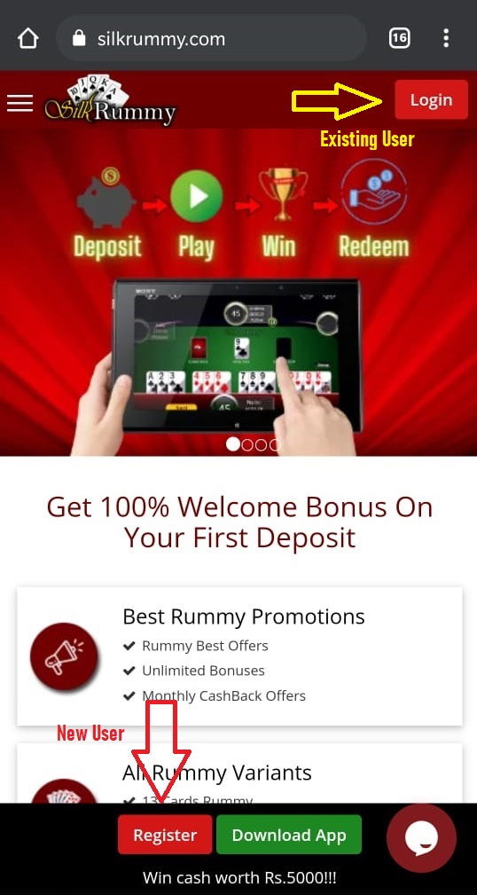 To invite your circle of rummy friends click on register/login