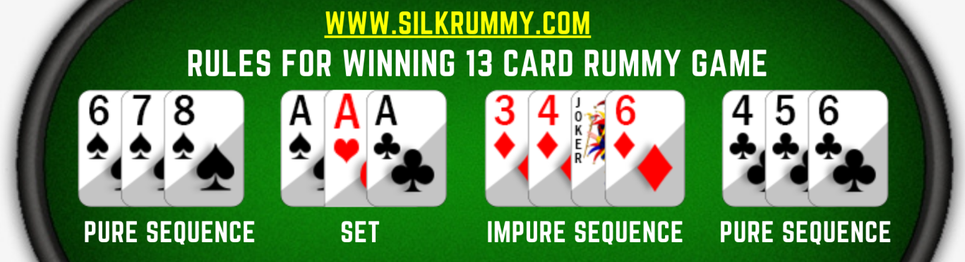 Valid set of Rummy cards for winning 13 card rummy online