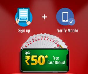 Rummy Bonus – Get upto Rs.50 free Sign up Bonus on daily login
