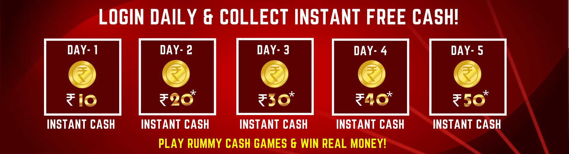 Rummy Instant Cash Bonus on Daily Login upto Rs.50 at Silkrummy