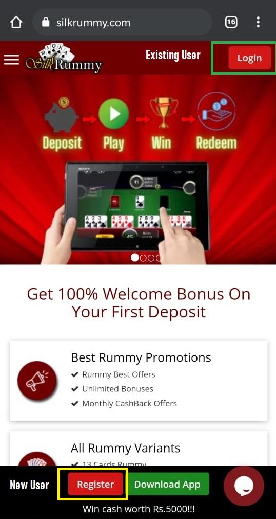 Visit Silkrummy home page & Click on Register to get Rummy Cash bonus